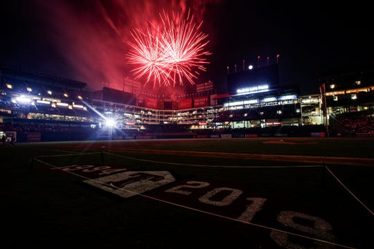 Fireworks explode over centerfield after the last night baseball game played at Globe Life Park, Saturday, Sept. 28, 2019, in Arlington, Texas. The Texas Rangers will play across the street at their new stadium, Globe Life Field, for the 2020 season. Texas beat the New York Yankees 9-4. (AP Photo/Brandon Wade)
