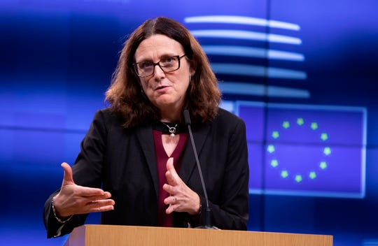 European Commissioner for Trade Cecilia Malmstrom speaks during a media conference after an informal lunch of EU trade ministers at the Europa building in Brussels, Tuesday, Oct. 1, 2019. The World Trade Organization ruled in May that Europe illegally subsidized Airbus, hurting U.S. competitor Boeing. The WTO is set shortly to allow President Donald Trump to slap tariffs worth billions of euros on European products, including wine, cheese and olives, in response.