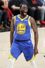 Draymond Green reacts to a basket in the Western Conference finals.