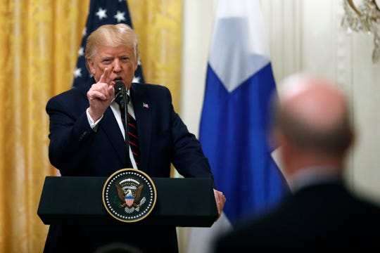 President Donald Trump speaks during a news conference with Finnish President Sauli Niinisto at the White House in Washington, Wednesday, Oct. 2, 2019.