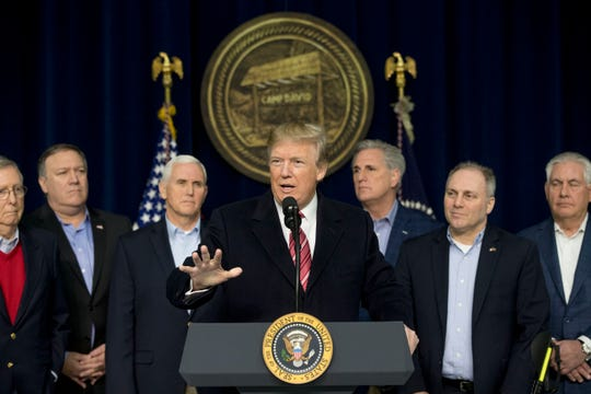 President Donald Trump at the Congressional Republican Leadership Retreat at Camp David, Maryland, in 2018.