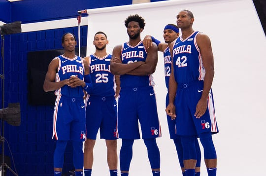Joel Embiid, Al Horford, Ben Simmons, Tobias Harris and Josh Richardson.
