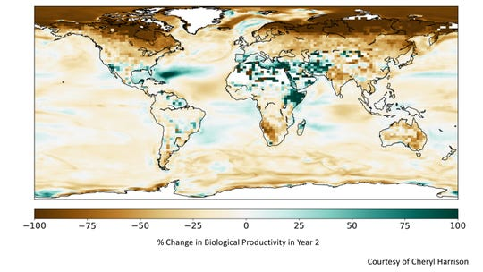 Global biological productivity is lowered significantly (areas in brown) by nuclear war between India and Pakistan.