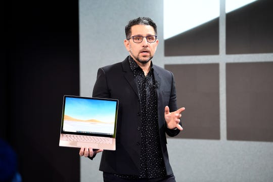 10/2/19 10:08:55 AM -- New York, NY  -- Microsoft unveiling event. -   Panos Panay is the chief product officer of Microsoft , with a surface laptop Photo by Robert Deutsch, USA TODAY staff ORG XMIT:  RD 138286 Microsoft unveil 10/2/2019 (Via OlyDrop)