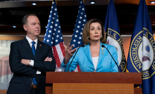 President Trump scoffed at a news conference held by House Speaker Nancy Pelosi and House Intelligence Committee Chairman Adam Schiff, D-Calif.