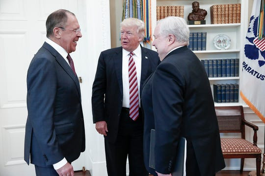 President Donald Trump with Russian Foreign Minister Sergey Lavrov, left, and Russian Ambassador Sergey Kislyak in 2017.