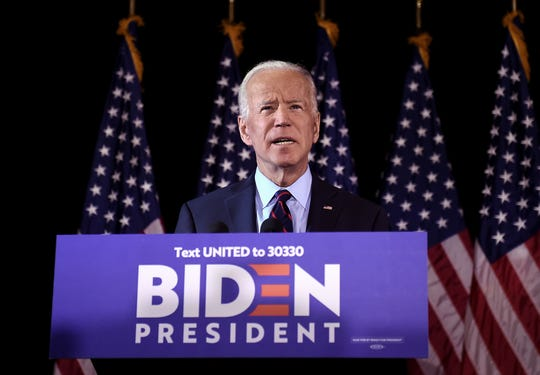 In this file photo taken on September 24, 2019 Democratic presidential hopeful Joe Biden makes a statement on Ukraine during a press conference at the Hotel Du Pont in Wilmington, Delaware. - Joe Biden may have inadvertently triggered the scandal now threatening Donald Trump's presidency, but it has also impacted his own White House bid and the Democrat could soon learn whether it dooms his candidacy or bolsters it.