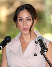 Duchess Meghan speaks during a reception to celebrate the UK and South Africa's business and investment relationship at the High Commissioners Residence on Oct. 02 in Johannesburg, South Africa.
