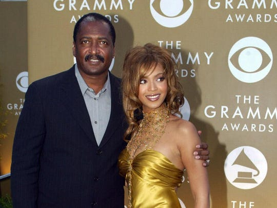 Beyoncé and father Matthew Knowles arrive for the 46th Annual Grammy Awards on February 8, 2004 at the Staples Center in Los Angeles. Mathew serves on the Grammy Board Committee.