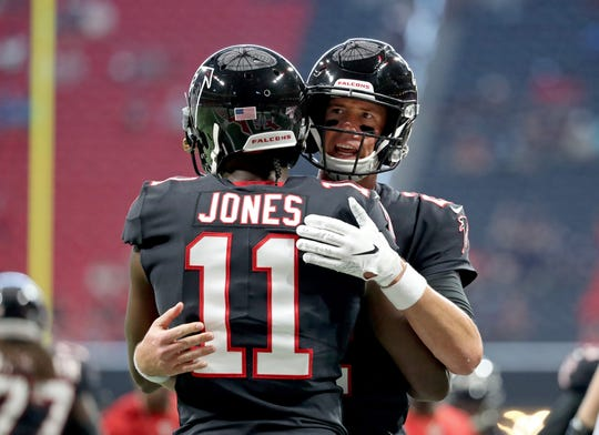 Julio Jones and Matt Ryan of the Falcons rank second among current wide quarterback combinations with 54 touchdown passes. (Andy Dalton-A.J. Green, from Bengals, is 58.)