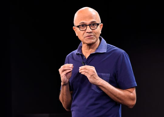 10/2/19 10:02:07 AM -- New York, NY  -- Microsoft unveiling event. -  Satya Nadella is Chief Executive Officer of Microsoft. Photo by Robert Deutsch, USA TODAY staff ORG XMIT:  RD 138286 Microsoft unveil 10/2/2019 (Via OlyDrop)