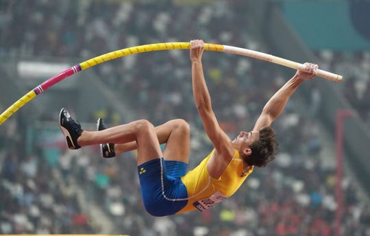 Mondo Duplantis (SWE) places second in the pole vault at 19-7 (5.97m) during the IAAF World Athletics Championships at Khalifa International Stadium in October.