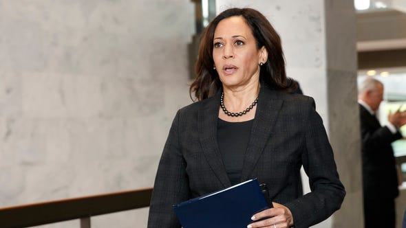 Sen. Kamala Harris, D-Calif., arrives for a closed intelligence briefing with Acting Director of National Intelligence Joseph Maguire, Sept. 26, 2019, on Capitol Hill in Washington.