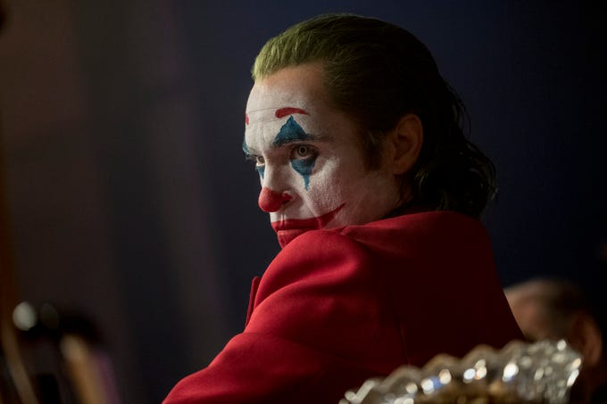 "The Telegraph This image released by Warner Bros. Pictures shows Joaquin Phoenix in a scene from ""Joker,"" in theaters on Oct. 4.  (Niko Tavernise/Warner Bros. Pictures via AP) ORG XMIT: NYET702"