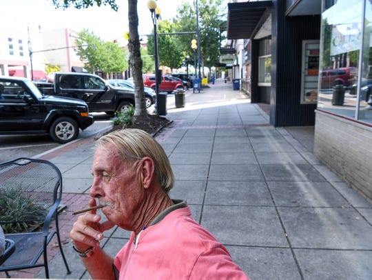 "A smoking ban in downtown Anderson begins November 1, 2019. Tommy Baldwin, smoking in front of Deja Vu in downtown Anderson says he does not look forward to getting asked by police to not smoke downtown or face a $25 fine. ""I'll just go somewhere else,"" he said."
