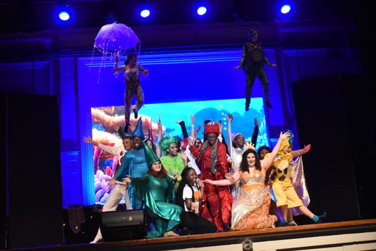 """The Bolton Conservatory will present Disney's """"The Little Mermaid"""" Thursday through Sunday in the Bolton High School auditorium. Rahima Olatinwa (in red, center) stars Sebastian in the production."""