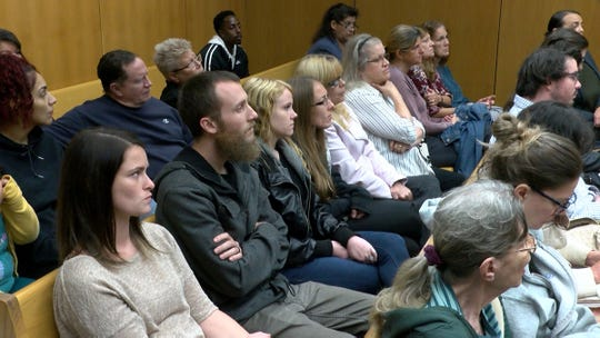 Mark Austin friends and family fill the second row  for his detention hearing before Judge Wendel E. Daniels in State Superior Court in Toms River Thursday, October 3, 2019.  He is charged, along Jeray Melton, with the murder of Austin's father in Brick Township.