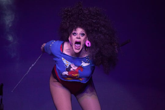 "Thorgy Thor performs onstage during Logo's ""RuPaul's Drag Race"" Season 8 Premiere at Stage 48 on Feb. 22, 2016 in New York City."