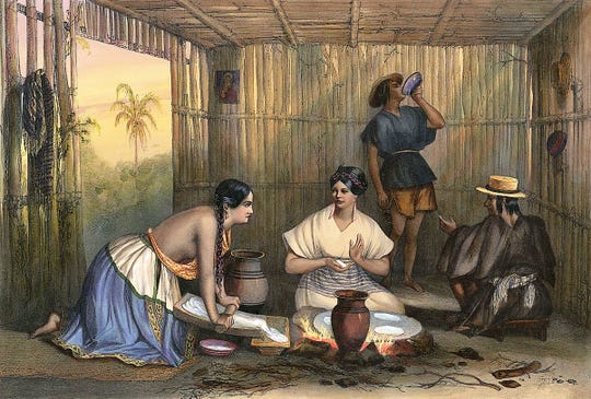 An 1836 lithograph by Carl Nebel of two women making tortillas inspired mural artist Calina Mishay Johnson's work in progress on the back wall of The Local, a new downtown Abilene restaurant and bar.