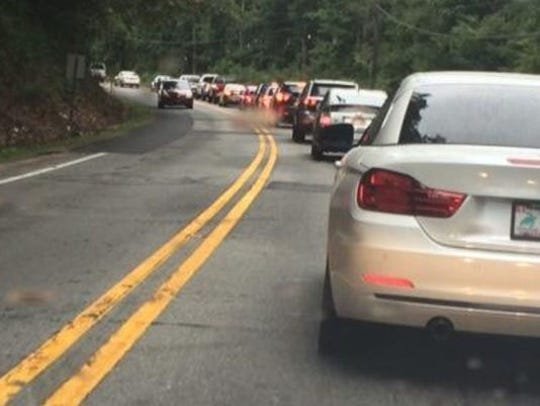 Traffic on Sweeten Creek Road tends to back up in the two lane sections. A widening project has been delayed until 2023.