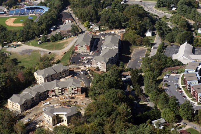 In this 2015 aerial photo, new housing units were being built on the east side of downtown Asheville. Since 2014, rents in Buncombe County have risen an average of 5.4% a year, according to a report released by the city of Asheville.