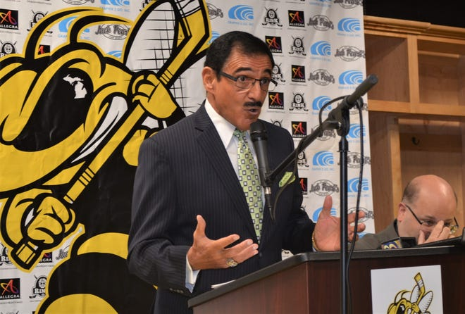 Longtime announcer Terry Ficorelli was introduced as the voice of the Battle Creek Rumble Bees at a press conference Thursday as the team will broadcast games home and away on radio station 102.7 FM.