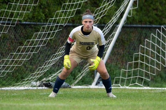 Essex goalie Rachel Botala (00) keeps an eye on the ball during the girls soccer game between the Burlington Seahorses and the Essex Hornets at Essex High School on Wednesday afternoon October 2, 2019 in Essex, Vermont.