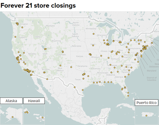 The Forever 21 located on the first floor of La Palmera mall is one of 178 locations across the nation to potentially close this year.