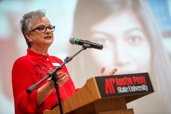 Austin Peay President Alisa White speaks to the crowd at the Industry Summit at Austin Peay at Morgan University Center in Clarksville, Tenn., on Thursday, Oct. 3, 2019.