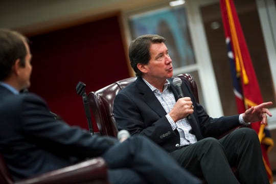 Former Ambassador Bill Hagerty answers questions posed by a host at the Industry Summit at Austin Peay at Morgan University Center in Clarksville, Tenn., on Thursday, Oct. 3, 2019.
