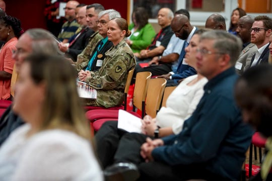 Gathered crowd members listen to speakers at the Industry Summit at Austin Peay at Morgan University Center in Clarksville, Tenn., on Thursday, Oct. 3, 2019.