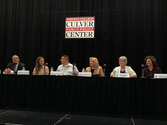 Candidates for Indianola City Council met at Simpson College Tuesday to discuss issues in a candidate forum. From left, John Parker, Stephanie Erickson, Steve Armstrong, Gwen Schroder, Shirley Clark, Heather Hulen.