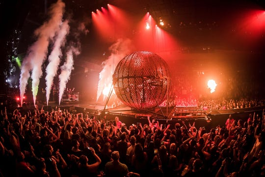 "The Globe of Death is among the special effects on the Chainsmokers' tour. ""It's stored up in the ceiling, and in a later, more intense moment of our show, it floats down from nowhere,"" says Drew Taggert. ""Dirt bikers appear onstage and drive into the Globe of Death, and I'm performing next to it."""