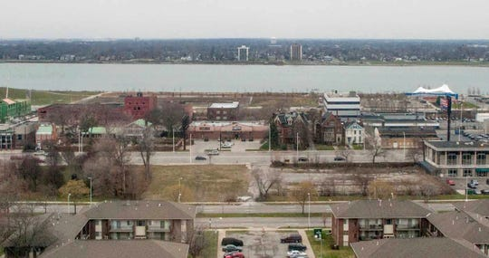 The vacant land in the middle of the picture is 1475 East Jefferson in Detroit, where a mixed-use development with a Meijer was to be built.