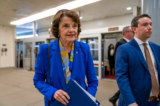 Sen. Dianne Feinstein, D-Calif., the ranking member of the Senate Judiciary Committee, arrives at the Senate Wednesday, Sept. 11, 2019. Snubbing her California colleague in the Senate, Feinstein is co-hosting a fundraiser for Joe Biden on Thursday.