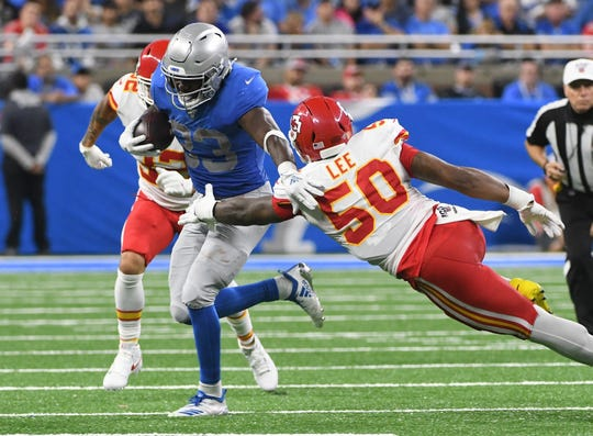 Lions running back Kerryon Johnson had a career-high 26 carries Sunday against the Chiefs. It was the second straight week he set a career-high in carries.