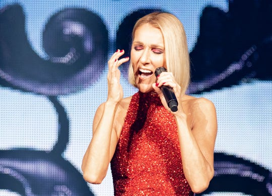Singer Celine Dion performs during her first World Tour show called Courage at the Videotron Centre, Wednesday, Sept. 18, 2019, in Quebec City.