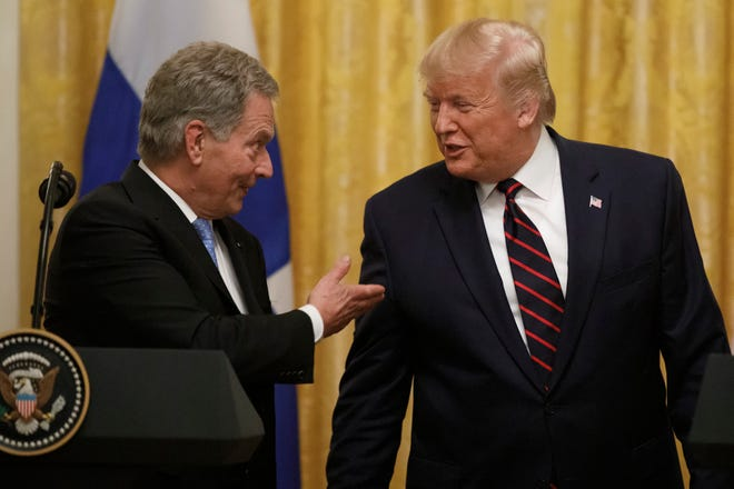 President Donald Trump and Finnish President Sauli Niinisto participate in a news conference at the White House in Washington, Wednesday, Oct. 2, 2019.