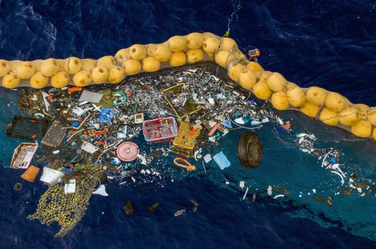 Boyan Slat, a university dropout who founded The Ocean Cleanup nonprofit, announced Wednesday, Oct. 2, 2019 that the floating boom is skimming up waste ranging in size from a discarded net and a car wheel complete with tire to chips of plastic measuring just 1 millimeter.