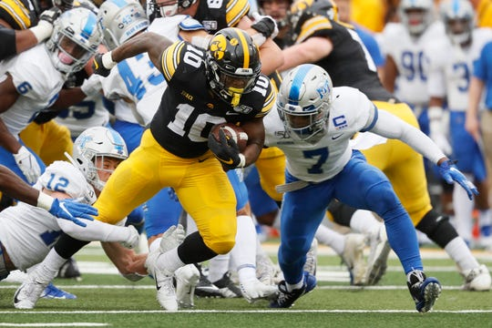 Running back Mekhi Sargent (10) leads Iowa in rushing with 299 yards, good for 74.8 per game.