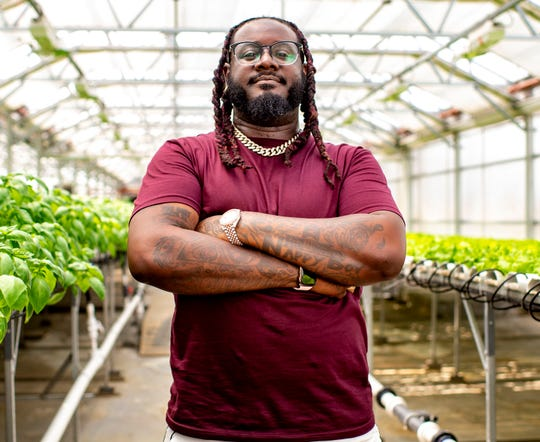 "This June 5, 2019 photo shows rapper T-Pain, host of ""T-Pain's School of Business,"" posing for a portrait at Gotham Greens in the Brooklyn borough of New York. The program explores niche, innovative businesses founded by millennials. Many are centered on new technology and forward-thinking concepts."