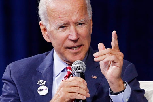 Former Vice President and Democratic presidential candidate Joe Biden speaks during a gun safety forum Wednesday, Oct. 2, 2019, in Las Vegas. Joe Biden is intensifying his counterattacks on President Donald Trump and more explicitly defending his record.