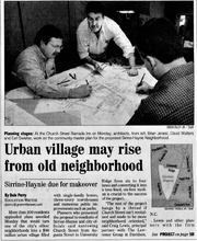 This clip from the Aug. 28, 2001, Greenville News shows planners working on a new master plan for the Haynie-Sirrine community. The project took more than a year and included community meetings with more than 350 residents over four days. Much of the plan's vision was never realized.
