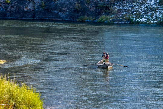 Anglers fish the Missouri River south of Cascade, Wednesday, October 2.