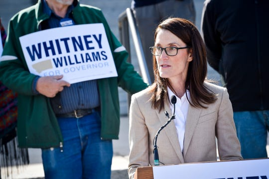 Whitney Williams announces her candidacy for governor Thursday on the steps of the Montana State Capitol in Helena. Williams is the fourth Democrat entering the 2020 race so far.