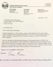 This Sept. 11 letter regarding the denturist issue was sent from the Economic Affairs Interim Committee to the Department of Labor and Industry.