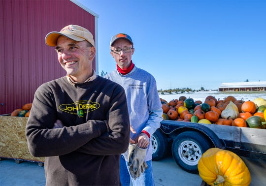 Jordan Schroeder, right, and his father Phil are excited for Jordan's Pumpkins for a Cause, their annual fundraiser,  which will take place on Saturday October 5, 2019. Last year they raised $2000 for Farm in the Dell and this year they will be donating their proceeds to Eagle Mount.