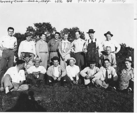 The Henderson Rotary Club went to the Cheatham farm on U.S. 41-North between the bridge and the state line the afternoon of Oct. 6, 1944, to gather 30 bushels  of milkweed pods, which were used to make lifejackets for the World War II effort. The outing was organized by County Agent H.R. Jackson. Note the bag of pods at right.  G.W. Allen won the prize for most collected and Harold Dodson won second place. Sam Lambert and C.D. McIntosh came in third and fourth. Other Rotarians who went pod-picking were Stanley Hoffman, who with Jackson was one of the two team captains, Ben Bernstein, H.S. Dodson, Leigh Harris, Maurice Fitzgerald, Henry Hicks, H.R. Humber, Hecht Lackey, Dr. Walter O'Nan, O.W. Schauz, O.B. Springer, Henry Taylor and Frank Wolf. (Photo courtesy Henderson County Public Library)