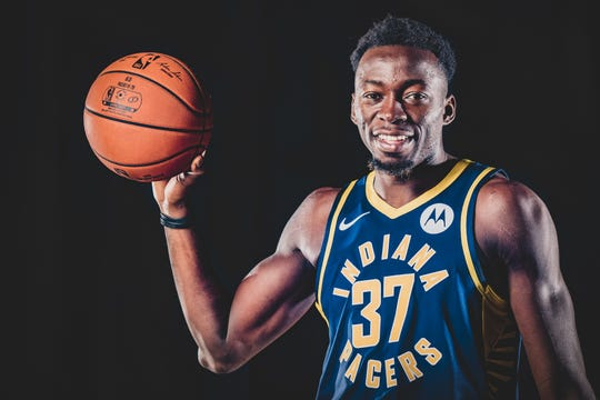 Amida Brimah, #37, is photographed during the Indiana Pacers Media Day, held at Bankers Life Fieldhouse, on Friday, September 27, 2019.