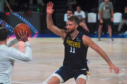 Indiana Pacers player Domantas Sabonis trains during the training session at the NSCI Dome in Mumbai on October 3, 2019. - Stars from the Sacramento Kings and Indiana Pacers will play pre-season games in Mumbai on October 4 and 5 to boost a desperate campaign to improve the sport's popularity in South Asia.